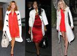 czerwone sukienki, białe plaszczyki