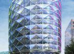 Budynek wyróżnia system gromadzących energię ogniw słonecznych