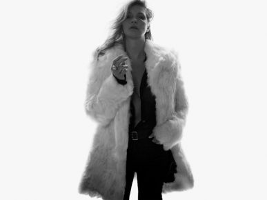 Kate Moss w futrze Saint Laurent
