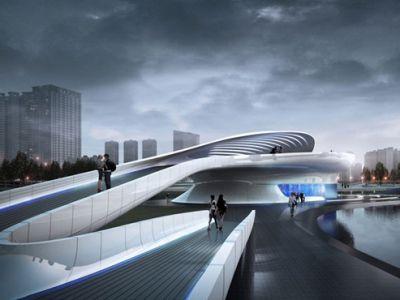 Ultranowoczesny most dla pieszych w Jiangsu Wuxi Central Park